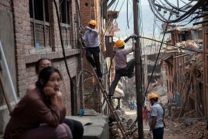 Power supply team trying to reconnect the supply in Bhaktapur, Nepal on 5 May, 2015