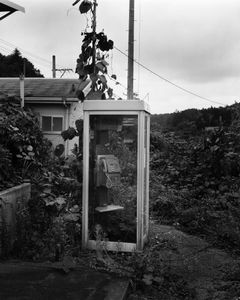 "An abandoned telephone box at Momouchi station. The station has remained untouched since the nuclear disaster. From the series ""Fragments/Fukushima"" © Kosuke Okahara"