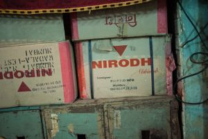boxes of condoms that are ready to be distributed among the sex workers in the Wadala area of central Mumbai  © Alison McCauley