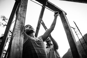 Men rebuilding houses destroyed by the largest earthquake in Nepal in more than 80 years. Baluwa, Gorkha District.