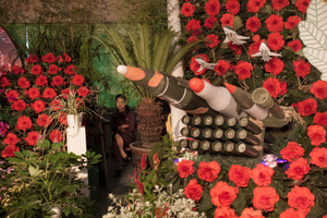"A woman sits next to models of military weapons at a festival for the""Kimilsungia"" and ""Kimjongilia"" flowers, named after the country's late leaders, inPyongyang, North Korea, 24 July 2013."