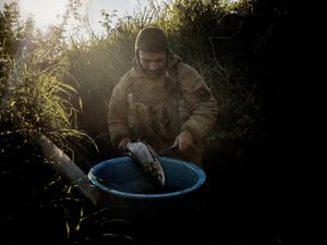 Vice commander in a trench preparing lunch fished nearby.