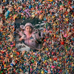 """From the series """"The Real Toy Story,"""" Wolf's first major art project. The work was inspired by Wolf's childhood fascination with plastic toys (which were forbidden to him by his parents). By scouring the California coast, Wolf gathered over 20,000 toys which, when combined with portraits of Chinese workers, produced his first investigation into the broader contours of urban life."""