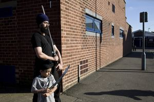 Gatka at the community centre  Young Sikh boys and girls meet for Saturday morning martial art classes. The sport of Gatka is part of their religious tradition.  © Liz Hingley