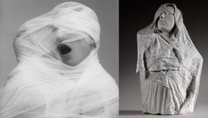 (left) White Gauze, 1984 © Robert Mapplethorpe Foundation. Used by permission. (right) Torse de l'Age d'airain drape, vers 1895 © Paris, musee Rodin