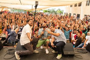 DAM (Brothers Suhell and Tamer Nafar and Mahmoud Jreri) on stage at a concert at Birzeit University. Dam were among the first to rap in Arabic. Their music is refecting the realities of Palestinins living both in Israel and the West Bank. They are the voice of a new generation and are extremely popular in the West Bank where they perform often. © David Brunetti