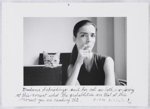 "Madame Schrödinger's Cat, 1998. From the series ""Quantum"" © Duane Michals; The Henry L. Hillman Fund. Courtesy of Carnegie Museum of Art, Pittsburgh"