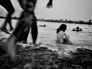 The kids, playing in karun river