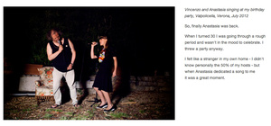 Vincenzo and Anastasia singing at my birthday party, Valpolicella, Verona, July 2012