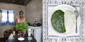 Flatar Ncube, 52 years old, Victoria Falls, Zimbabwe. Sadza (white maize flour) and pumpkin leaves cooked in peanut butter © Gabriele Galimberti