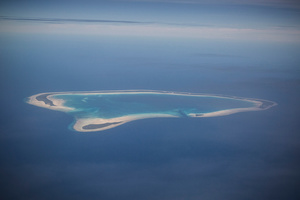 Apememe atoll, Kiribati. Most of the atolls of Kiribati are elevated less than a metre or two above the sea level.