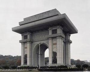 Pyongyang's Arch of triumph. It was built to honor and glorify president Kim Il Sung's role in the military resistance against Japan between 1925 and 1945. It is the world's tallest arch of triumph. © Maxime Delvaux