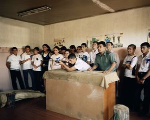 UNRECOGNIZED REPUBLIC OF NAGORNO-KARABAKH / Stepanakert / 10.09.2011. Male and female 9th grade students of school no. 10 in Stepanakert shooting with an air gun during the lesson 'Military Preparation' which is part of the class schedule from 8th up to 11th grade. Among others, the substance of the lessons is the structure of the armed forces of Armenia and Nagorno-Karabakh.