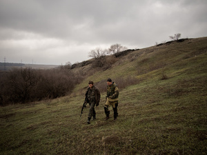 Separatists during a patrol in the area of Debaltsevo.