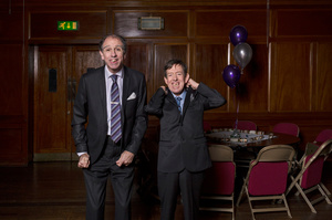 Raymond (left) and Peter, Christmas Party 2014, Civic Hall, Ellesmere Port, Cheshire