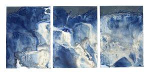 "Littoral Drift #475 (Triptych, Point White Beach, Bainbridge Island, WA 05.20.16, Three Churning Waves)42x92"", Unique Cyanotype"