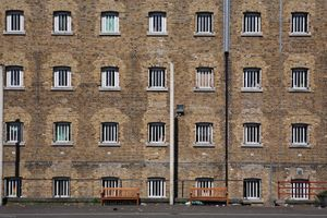 A view of D wing from the exercise yard at Wandsworth Prison.HMP Wandsworth in South West London was built in 1851 and is one of the largest prisons in Western Europe. It has a capacity of 1456 prisoners.