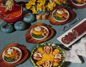 "Nickolas Muray, Food Spread, Daffodils, McCall's magazine, ca. 1946; from ""Feast for the Eyes"" (Aperture, 2017). © Nickolas Muray Photo Archives. Courtesy George Eastman Museum, gift of Mrs. Nickolas Muray"