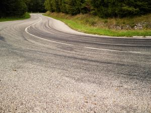 Last curve on a mountain road before arriving to the Natzweiler-Struthof concentration camp.