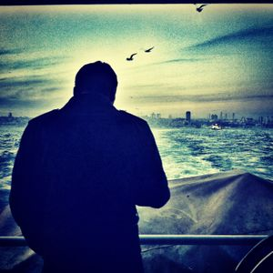 A man silhouette in front of Bosphorus (Version 2)