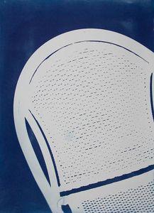 "Yard Chair, 2010, Cyanotype, 22""x 30"", © Alex Emmons"
