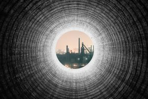 Industrial pollution in the mirror