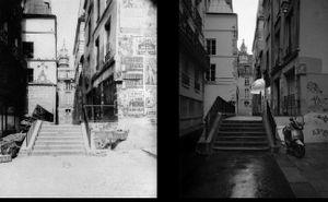 Rue Saint-Bon, 1903, © Eugene Atget. Rue Saint-Bon, 1998, © Christopher Rauschenberg.