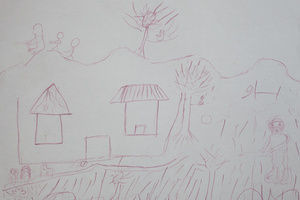 A drawing by Mairama. We stayed in some small hut. Everyday there were plenty of insurgents in the camp carrying guns. Eventually one day three of us escaped together