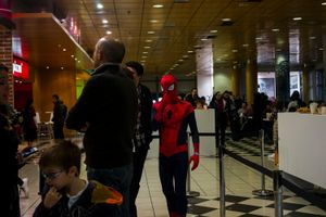 Spiderman is waiting for a whopper at Burguer King. Madrid. 2016