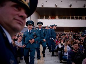 Officials of the Donetsk's firefighters squadron.
