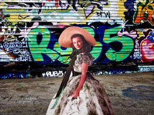 "From the series ""Scarlett America: American Wanderings of a Cardboard Stand-up"", Scarlett in Brooklyn, New York, September 2008"
