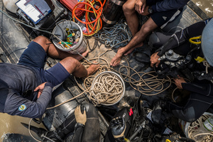Inside of the divers boat the team carry all the equipment they need between two boats whilst on a mission.