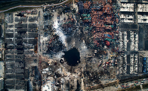 Aerial view of the destruction after the explosion in Tianjin, China, 15 August 2015.