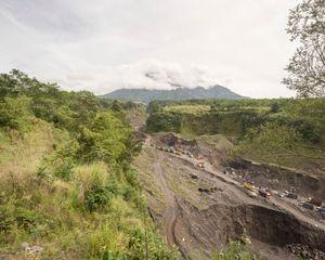 View of sand mining from batu alien, Kepuharjo village, Yogyakarta