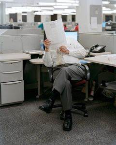 Al Hasbrouck, Copy Editor, Signing Off On Late Changes For Next Edition, 9:38pm, 2012 © Will Steacy