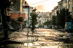 Destroyed barricades by Turkish riot police during clashes with riot police at anti-government demonstration in Istanbul's Gazi neighborhood, Turkey.
