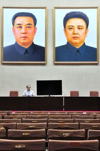 A self portrait in a North Korean auditorium.