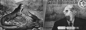 """Left: """"La femme crocodile,"""" Fête foraine, 1954-55. Right: Campaign poster, 1958. From the photobook Les amies de place Blanche, Aman Iman Éditions. © Christer Strömholm."""