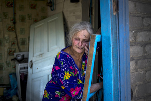 Local resident Galina Lobach, 67, in the village of Luhanskaya after the air attack