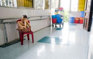 A mentally disabled child at Peace Village ward at Tu Du Hospital in Ho Chi Minh City, Vietnam.