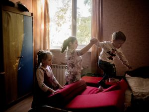 Children playing in an orphanage in the south of Donetsk.