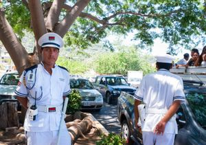 Supermarket security guards Julio and Hector. Zihuatanejo.