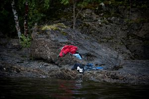 2nd prize Spot News Stories: © Niclas Hammerström, Sweden, for Aftonbladet. Utøya, Norway, 22 July.  Trying to avoid the killers bullets, many people jumped into the cold water. Anders Behring Breivik killed 69 people on 22 July on the small island of Utøya outside Oslo in Norway.