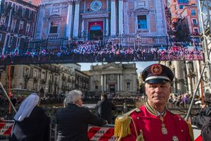 TV-broadcast of the procession of S.Agata in Catania