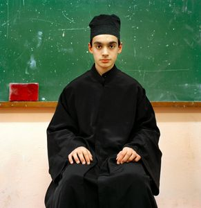 "Pupil at the Athonias Academy, Karyes, 2008. From the series ""Athos/Colors of Faith"""