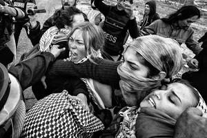 Demonstrators clash with Israeli military forces in the West Bank village of Nabi Saleh. Dec. 7, 2013. West Bank, Palestine.