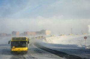 During the winter even a simple journey can be transformed into a full-blown expedition. Most jobs are situated along roads which cross open spaces of tundra. During a snowstorm, public transport consists of processions of 15-20 buses. If one bus tips over or breaks down, the passengers can be evacuated to another bus. This convoy circulates 2-3 times a day. © Elena Chernyshova