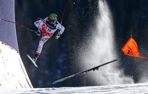Czech Republic's Ondrej Bank crashes during the downhill race of the Alpine Combined at the FIS World Championships in Beaver Creek, Colorado, USA, on 15 February 2015.