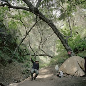 Rick's second camp at Brown's Gulch, Angeles National Forest, California, 2010. © Sarina Finkelstein
