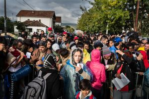 October 2015, Preshevo, Servië. On the Serbian side of the border with Macedonia thousands of refugees wait for whole days in the rain and cold to get registered by Serbian authorities.